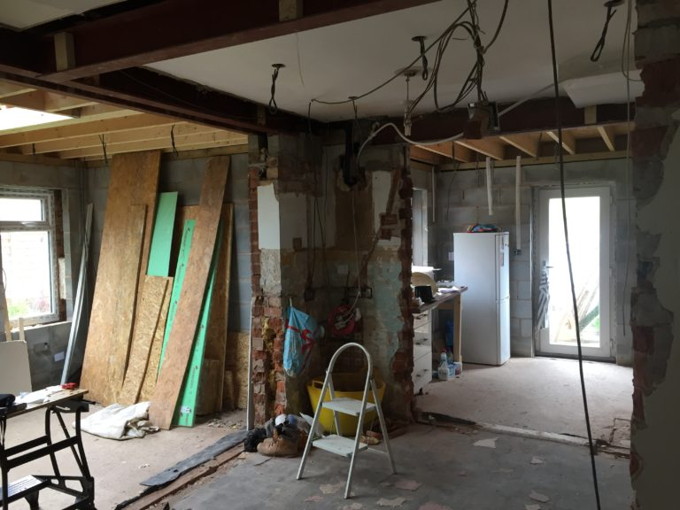 Steel beam inserted, planning a through room